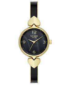 Kate Spade New York Women's Hollis Gold-Tone Stainless Steel & Black Enamel Bangle Bracelet Watch 30mm