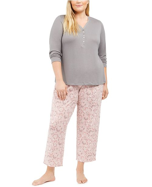 Charter Club Plus Size Henley Top & Printed Pants Pajamas Set, Created For Macy's