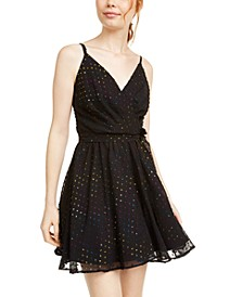 Juniors' Multicolored Metallic-Dot Chiffon Dress