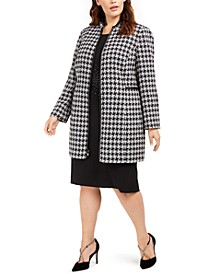 Plus Size Houndstooth Printed Topper Jacket