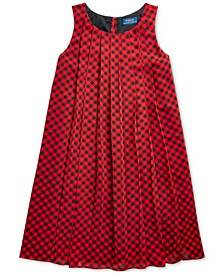Big Girls Checked Pleated Shift Dress, Created For Macy's