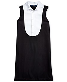Big Girls Tuxedo-Bib Ponte Dress