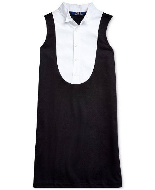 Polo Ralph Lauren Girls Tuxedo-Bib Ponte Dress