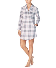 Shawl-Collar Printed Fleece Lounger Sleepshirt
