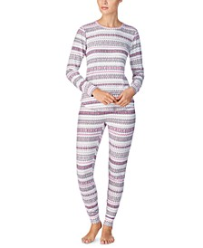 Printed Sweater-Knit Pajama Set