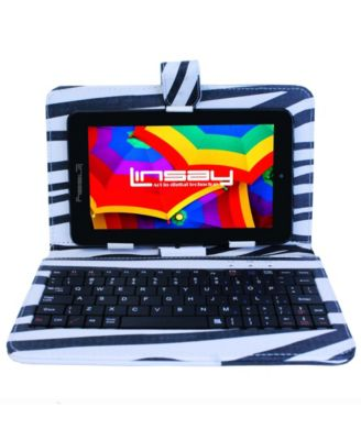 "Linsay 7"" New Quad Core Tablet Bundle with Zebra Style Keyboard Android 6.0 Dual Camera"