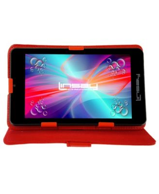 """Linsay 7"""" Quad Core Android 6.0 Tablet Bundle with Leather Case Dual Cameras"""
