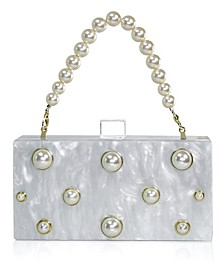 Embellished Acrylic Clutch with Top Handle