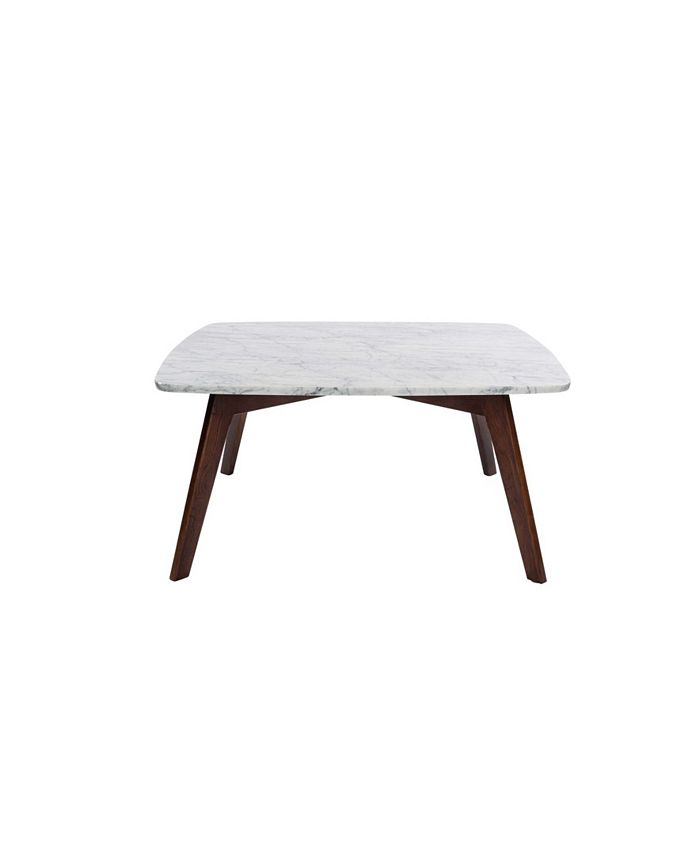 """Cenports - Vezzana 31"""" Square White Marble Table with Walnut Legs"""