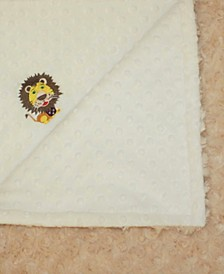Minky Baby Boy Girl Blanket With Embroidered Lion
