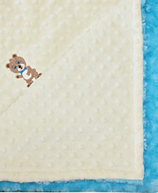Minky Baby Boy Blanket With Embroidered Boy Bear