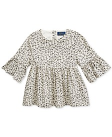 Little Girls Bell-Sleeve Cotton Batiste Top
