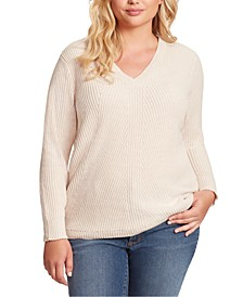 Trendy Plus Size Seana V-Neck Ribbed Tunic Sweater