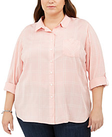 Tommy Hilfiger Plus Size Windowpane Roll-Sleeve Shirt