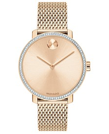 Women's Swiss BOLD Carnation Gold-Tone Stainless Steel Mesh Bracelet Watch 34mm
