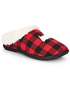 Women's Faux-Fur Plaid Scottie Dog Slippers, Created For Macy's