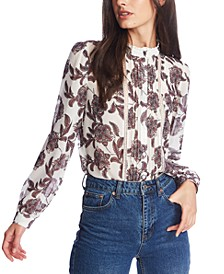 Lace-Trimmed Paisley Blouse
