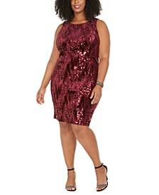 Trendy Plus Size Sleeveless Sequin Velvet Sheath Dress