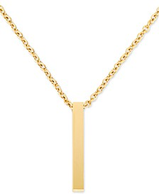 "Men's Polished Bar 24"" Pendant Necklace in Yellow Ion-Plated Stainless Steel"