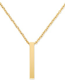 """LEGACY for MEN by Simone I. Smith Men's Polished Bar 24"""" Pendant Necklace in Yellow Ion-Plated Stainless Steel"""