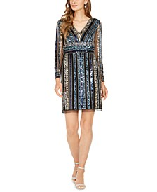 Petite Sequin-Striped Dress