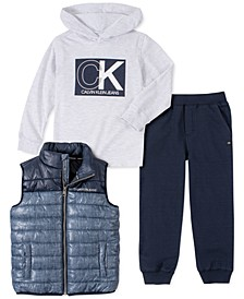 Little Boys 3-Pc. Quilted Colorblocked Vest, Hooded Logo T-Shirt & Fleece Sweatpants Set
