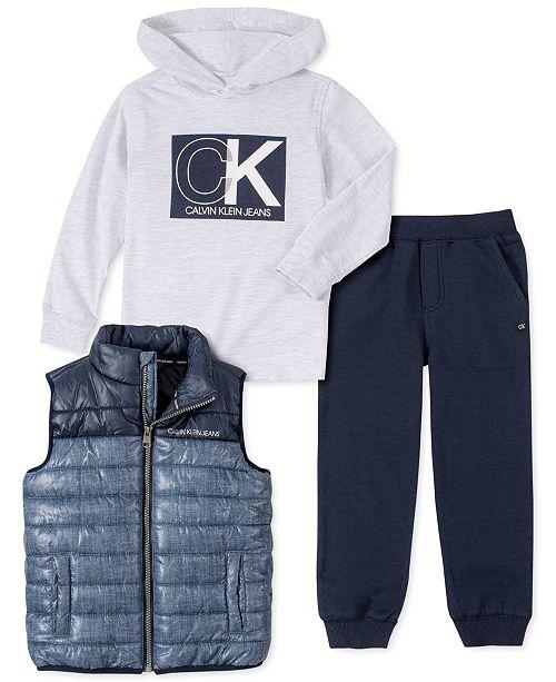 Calvin Klein Toddler Boys 3-Pc. Quilted Colorblocked Vest, Hooded Logo T-Shirt & Fleece Sweatpants Set