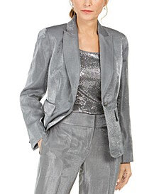 Petite Metallic Single-Button Blazer
