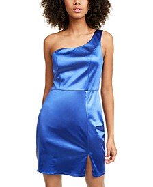 Juniors' Satin One-Shoulder Dress