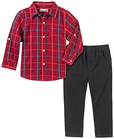 Little Boys 2-Pc. Red/Black Plaid Woven Shirt & Black Twill Pants Set