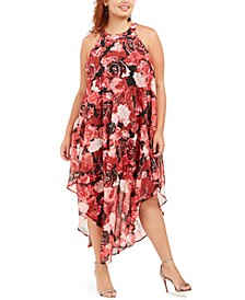 Trendy Plus Size Printed Handkerchief-Hem Dress