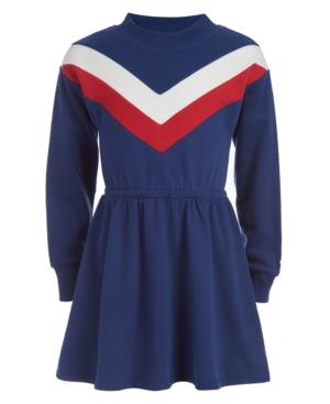 60s 70s Kids Costumes & Clothing Girls & Boys Tommy Hilfiger Toddler Girls Chevron Sweatshirt Dress $39.60 AT vintagedancer.com