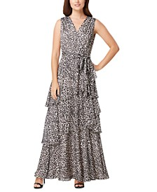 Leopard-Print Chiffon Maxi Dress