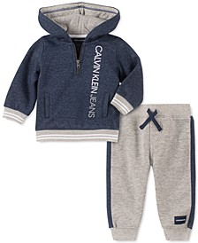 Baby Boys 2-Pc. Logo-Print Hoodie & Jogger Pants Fleece Set