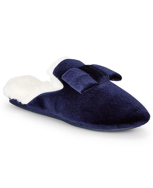 Charter Club Women's Velvet Bow Slippers With Faux Fur, Created For Macy's
