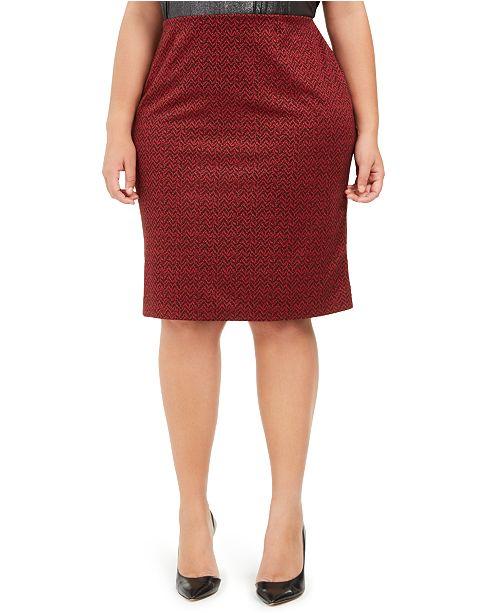 Nine West Plus Size Jacquard Skirt