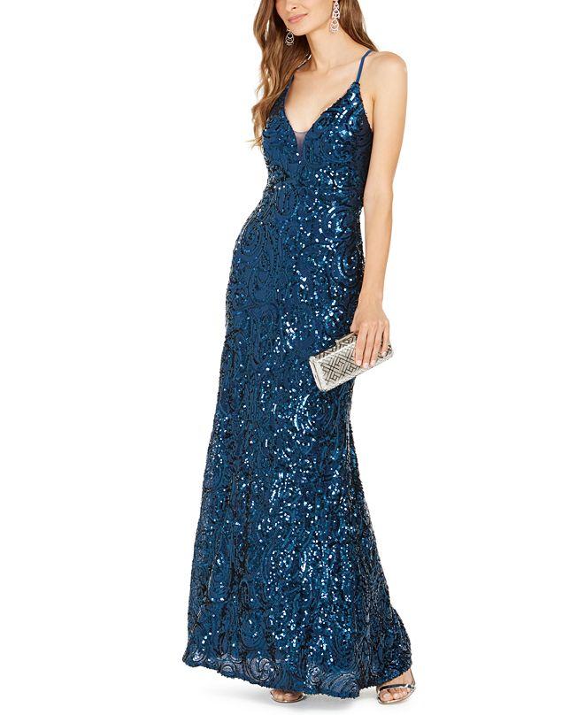 Nightway Allover-Sequin Gown