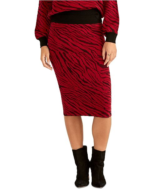 RACHEL Rachel Roy Animal Print Midi Skirt