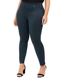 Plus Size Herringbone Seamed Ankle Pants