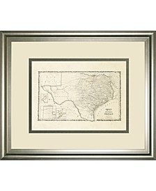 "New Map of The State of Texas Framed Print Wall Art - 34"" x 40"""