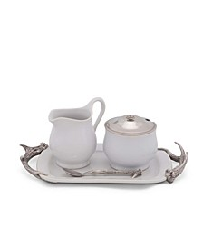 Stoneware Creamer Set with Pewter Antler Handles Tray 5 Pieces