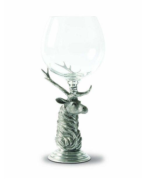 Vagabond House Pewter Elk Stem Burgundy Glass