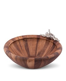 "Acacia Wood ""Harvest"" Serving, Salad, Fruit Bowl with Solid Pewter Accents"