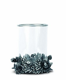 Acorn Oak and Leaf Pewter Metal Hurricane Candlestick Holder