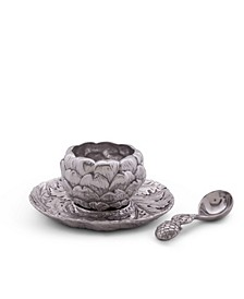 Aluminum Artichoke Condiment Set 3 Piece Bowl, Tray, Spoon