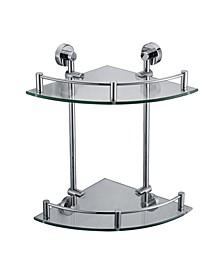 Polished Chrome Corner Mounted Double Glass Shower Shelf Bathroom Accessory