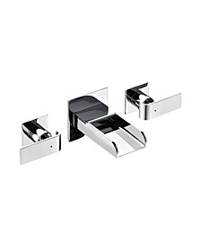 Polished Chrome Widespread Wall Mounted Modern Waterfall Bathroom Faucet