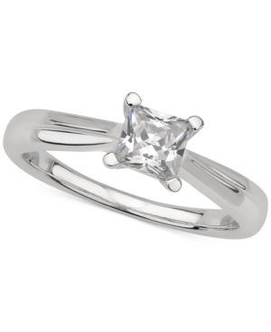 Gia Certified Diamond Princess Solitaire Ring (1/2 ct. t.w.) in 14k White Gold