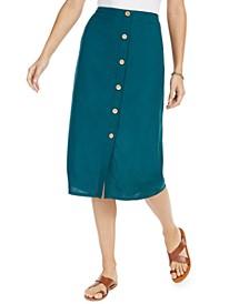 Juniors' Cotton Swaying Leaves Midi Skirt