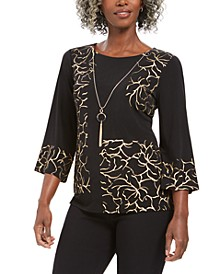 Foil 3/4-Sleeve Necklace Top, Created For Macy's